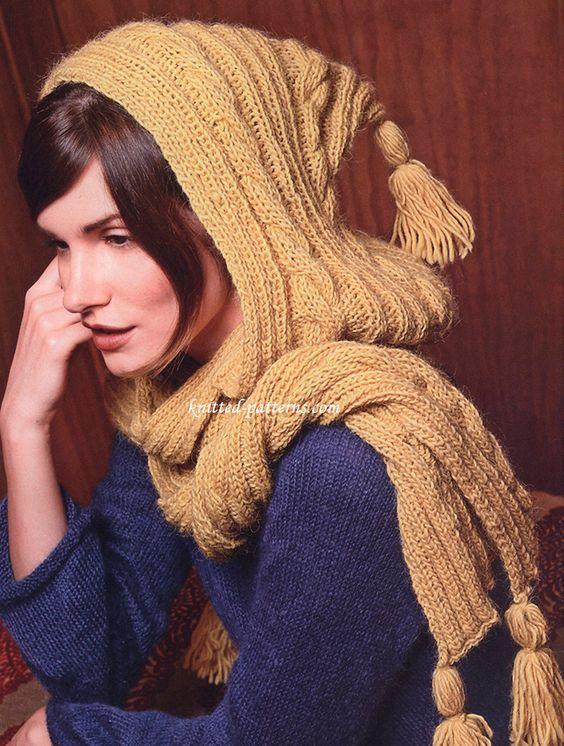 hood scarf blue yellow combo