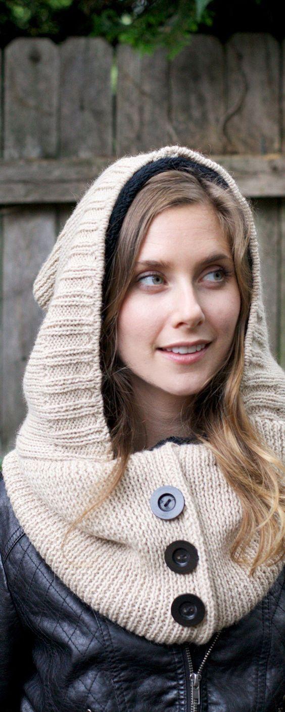 hood scarf beige