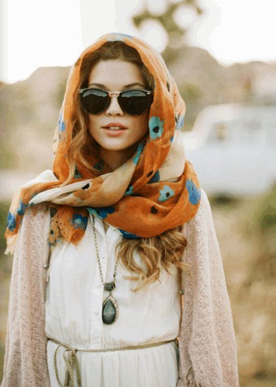 flowers with hood scarf