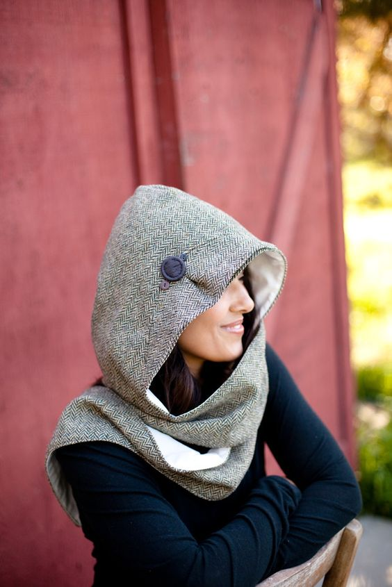 hood scarf flannel
