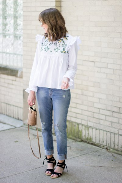 white boho-style embroidered blouse
