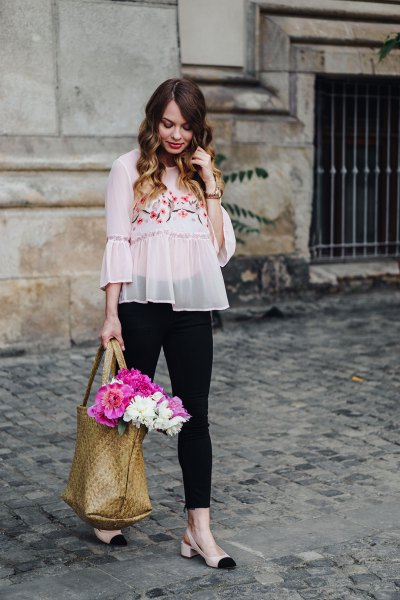 pale pink chiffon bell sleeve embroidered blouse