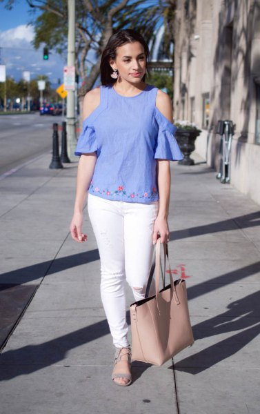 blue linen cold shoulder blouse subtle embroidered details
