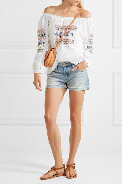 white boho style from shoulder embroidered blouse
