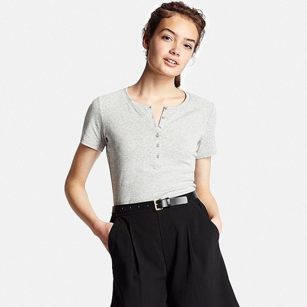 gray short sleeve henley t-shirt black wide leg chinos
