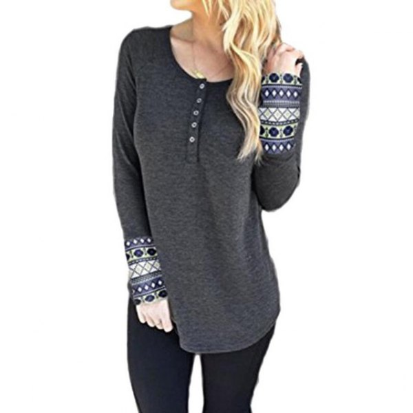 gray tribal printed henley shirt black pants