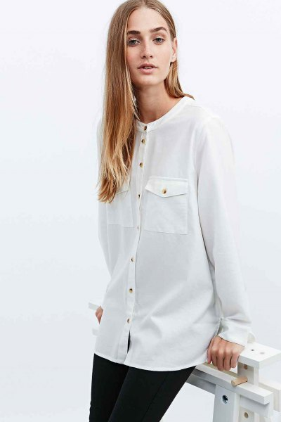 white front pocketed collar shirt