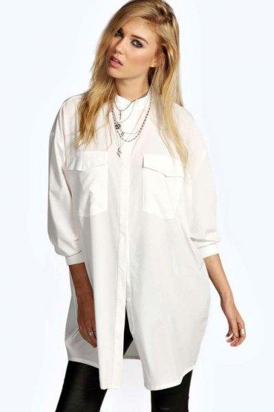 white oversized grandfather collar boyfriend shirt
