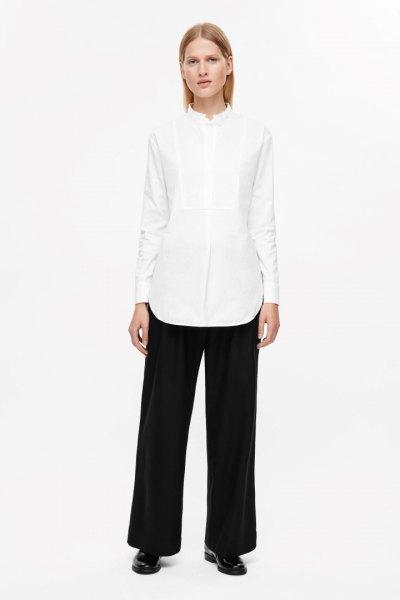 white oversized shirt with wide leg pants