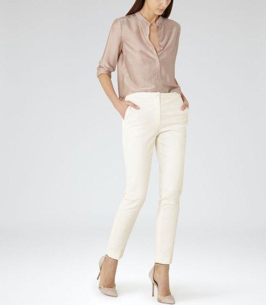 pink gold silk shirt white skinny pants