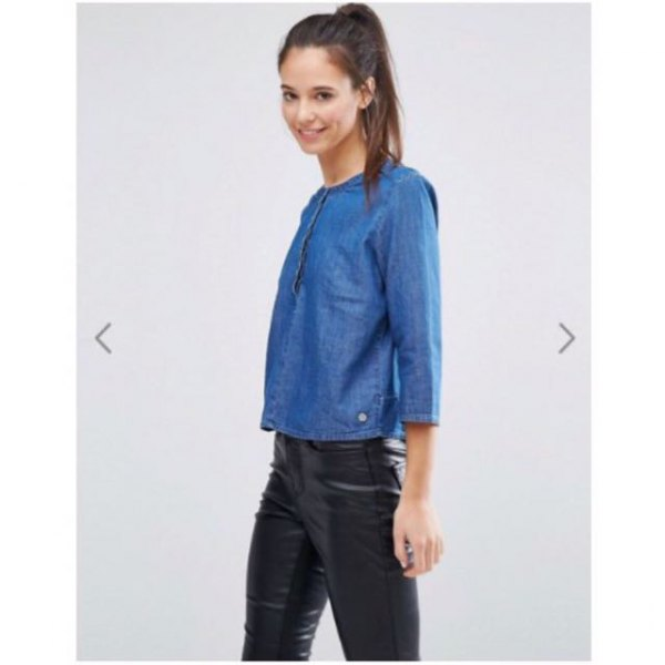 chambray lined collar shirt black leather pants