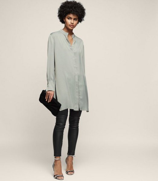 gray silk shirt dress black leather leggings