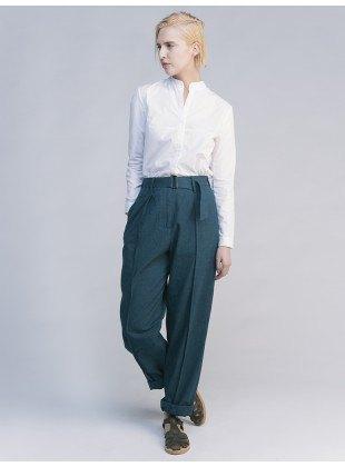 white shirt gray wide leg chinos