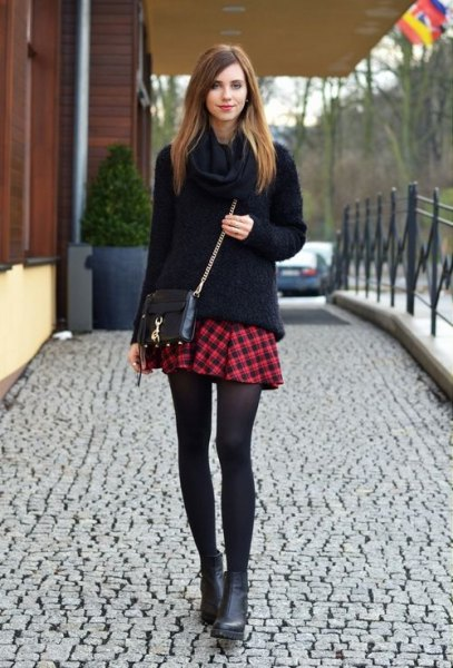 black chunky knitted sweater mini red checkered skirt