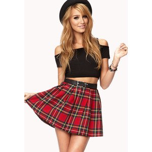 black of shoulder-crop top skater skirt