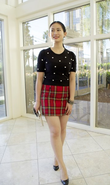 black polka dot t shirt red checkered bodycon mini skirt
