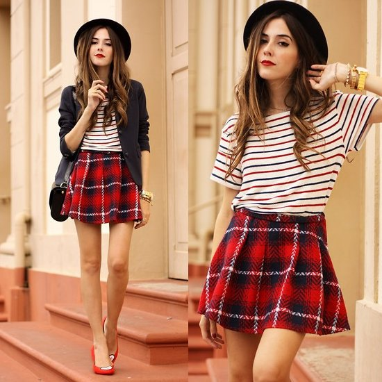 flannel red checkered mini skirt navy and white striped tee