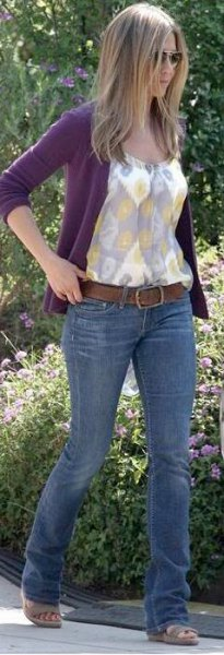 purple cardigan white floral top