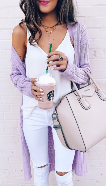purple ribbed long cardigan white white jeans