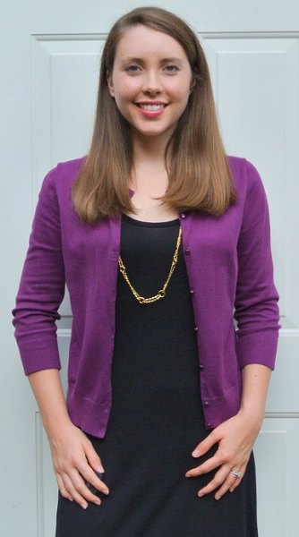 purple cardigan black shift dress