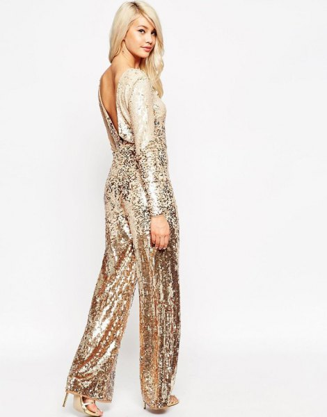 pink gold low back wide leg sparkly jumpsuit