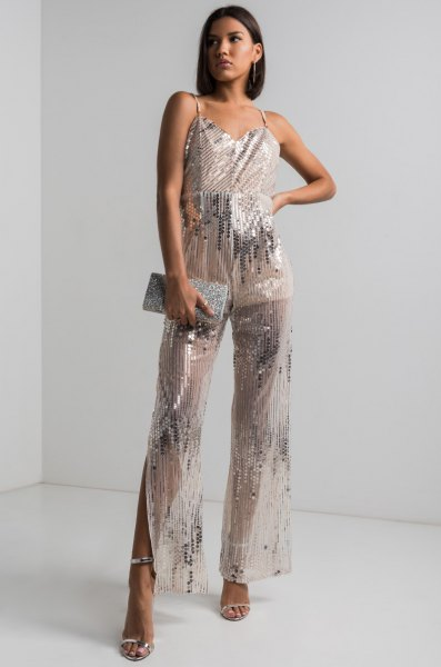 semi sheer silver sparkly wide leg jumpsuit