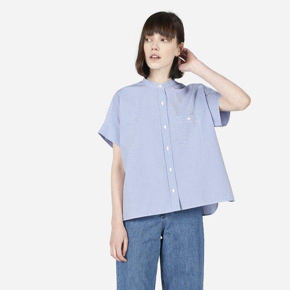 light blue oversized short sleeve collarless shirt