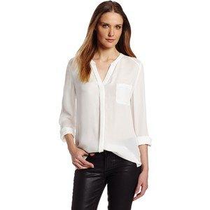 white chiffon v-neck collarless shirt black leather pants