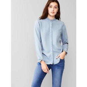 chambray shirt blue skinny jeans