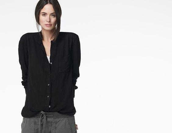 black collar without boyfriend shirt gray elasticated waist pants