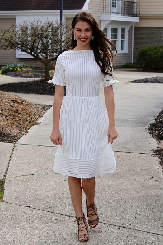 boat neck dress white stripes
