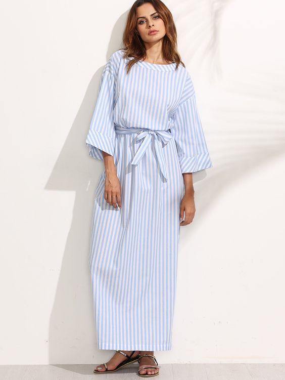boat neck dress blue striped