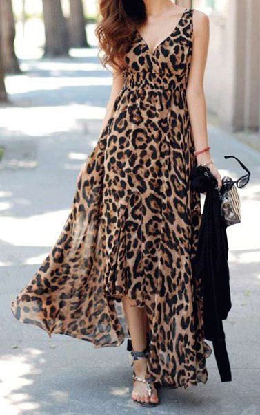 leopard print deep v-neck maxi blown dress