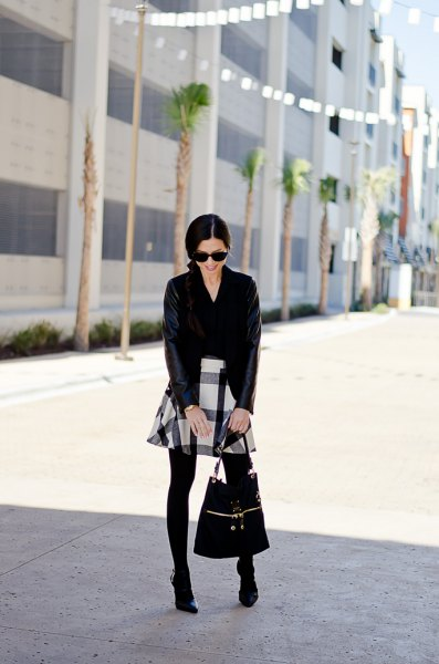 black and white skater flannel skirt cardigan