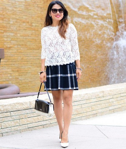 white lace top with three blocks