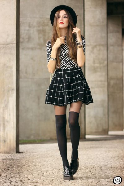 black and white polka dot top skater plaid skirt