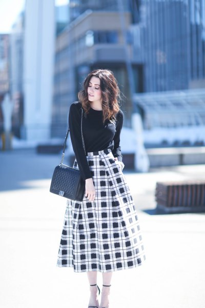 black and white blown out midi skirt shape matching sweater