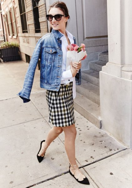 black and white checkered pencil skirt denim jacket