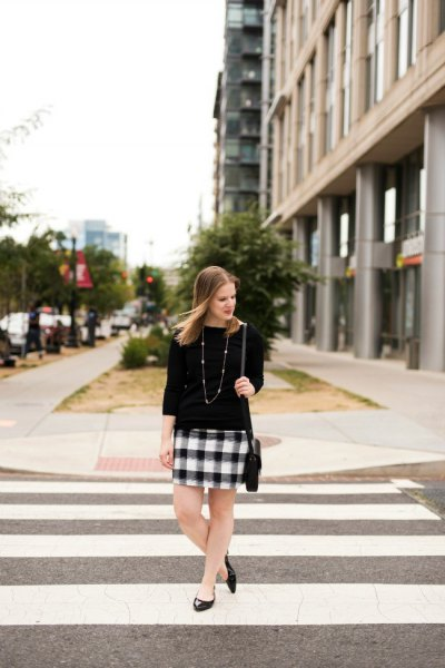 jersey black and white checkered mini skirt
