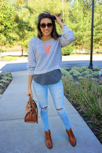 gray cropped sweater over long neck over long t-shirt
