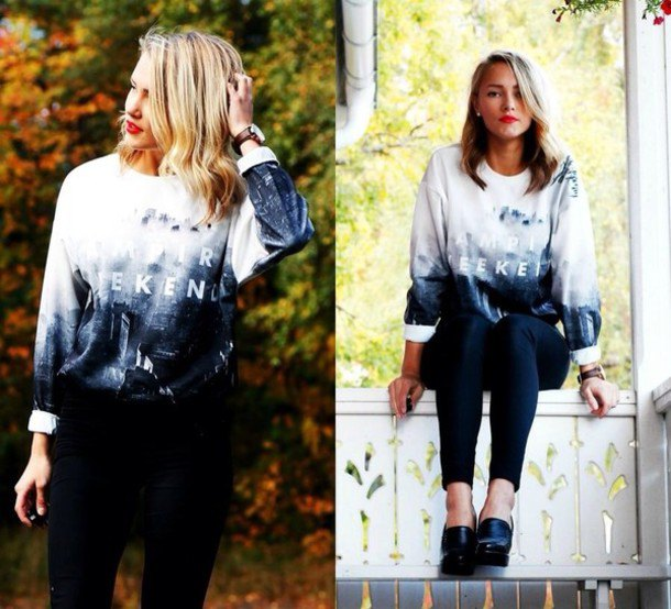 blue and white crew neck oversized sweaters of black sweater