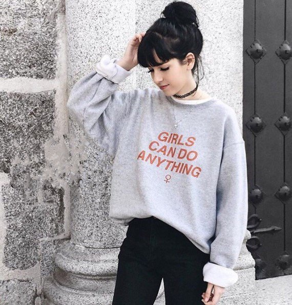 gray printed sweater with sweaters in black neck
