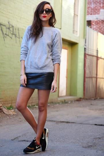 gray sweater with shirt in the neck in leather