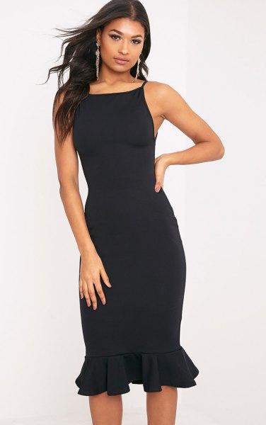black square midi ruffle dress