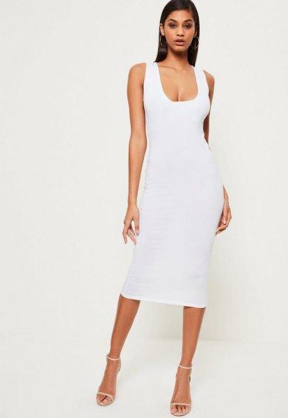 white midi bodycon dress with low square neckline