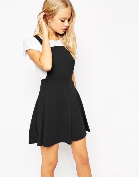 black square pinafore skater dress