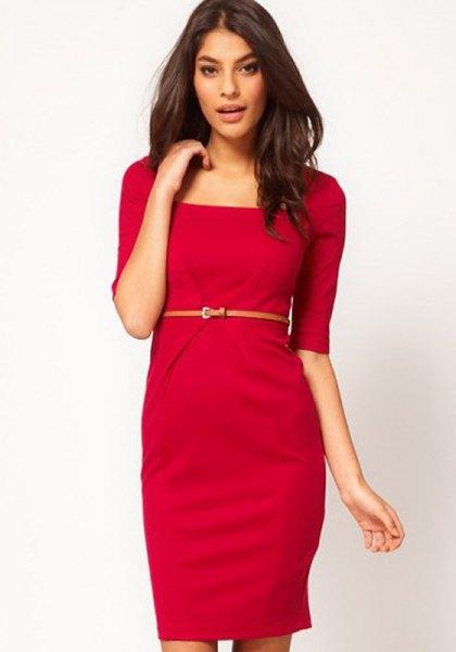 red half-waist belt in a knee-length dress