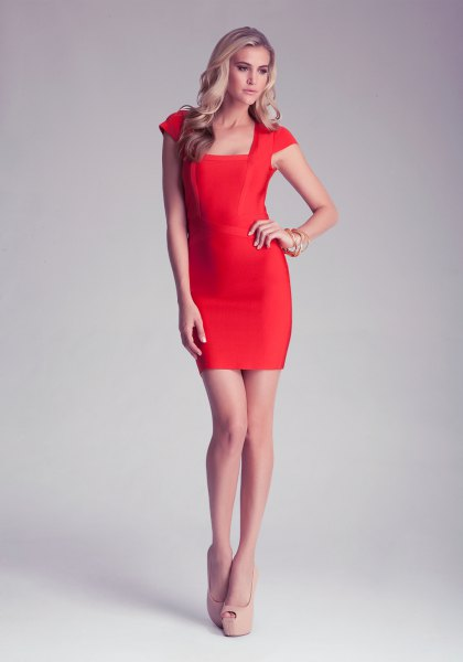 light red square neckline bodycon dress