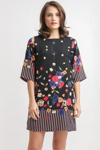 black floral wide sleeve dress