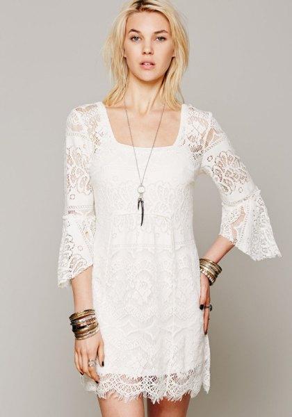 white watch sleeve lace shift dress